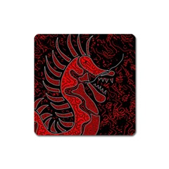 Red Dragon Square Magnet by Valentinaart