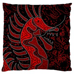Red Dragon Large Cushion Case (one Side) by Valentinaart