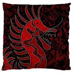 Red Dragon Large Flano Cushion Case (one Side) by Valentinaart