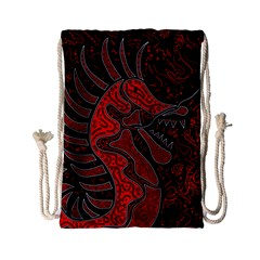 Red Dragon Drawstring Bag (small) by Valentinaart