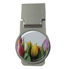 Colorful Bouquet Tulips Money Clips (round)