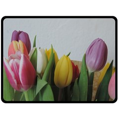 Colorful Bouquet Tulips Fleece Blanket (large)