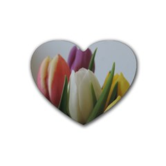 Colored By Tulips Rubber Coaster (heart)  by picsaspassion