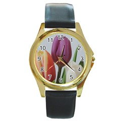 Tulip Spring Flowers Round Gold Metal Watch by picsaspassion