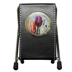Tulip Spring Flowers Pen Holder Desk Clocks by picsaspassion