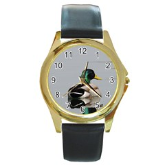 Swimming Duck Round Gold Metal Watch by picsaspassion