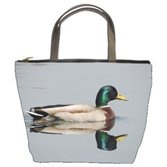 Wild Duck Swimming In Lake Bucket Bags by picsaspassion