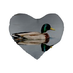Wild Duck Swimming In Lake Standard 16  Premium Flano Heart Shape Cushions by picsaspassion