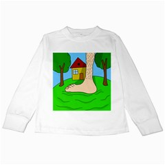 Giant Foot Kids Long Sleeve T Shirts by Valentinaart