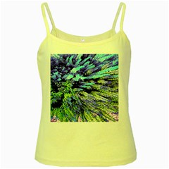 Colorful Floral Art Yellow Spaghetti Tank by yoursparklingshop