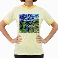 Colorful Floral Art Women s Fitted Ringer T Shirts by yoursparklingshop
