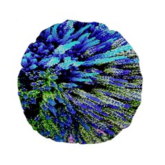 Colorful Floral Art Standard 15  Premium Flano Round Cushions by yoursparklingshop