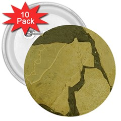 Stylish Gold Stone 3  Buttons (10 Pack)