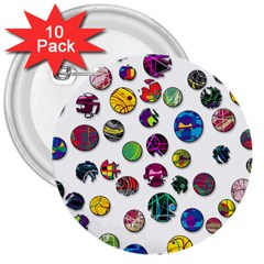 Play With Me 3  Buttons (10 Pack)