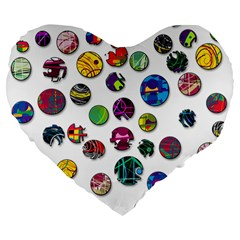 Play With Me Large 19  Premium Flano Heart Shape Cushions
