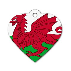 Flag Of Wales Dog Tag Heart (two Sides)
