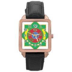 National Emblem Of Turkmenistan  Rose Gold Leather Watch  by abbeyz71