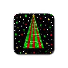 Xmas Tree  Rubber Square Coaster (4 Pack)  by Valentinaart