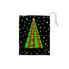 Xmas Tree  Drawstring Pouches (small)  by Valentinaart