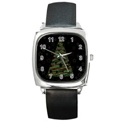 Xmas Tree 2 Square Metal Watch by Valentinaart