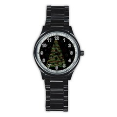 Xmas Tree 2 Stainless Steel Round Watch by Valentinaart