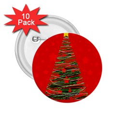 Xmas Tree 3 2 25  Buttons (10 Pack)  by Valentinaart