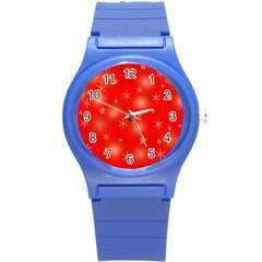 Red Xmas Desing Round Plastic Sport Watch (s) by Valentinaart