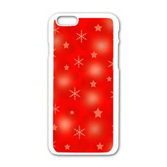 Red Xmas Desing Apple Iphone 6/6s White Enamel Case by Valentinaart