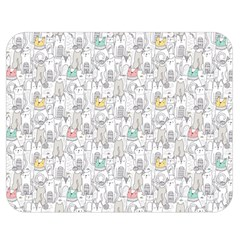 Doodle Cats  Double Sided Flano Blanket (medium)  by Mishacat