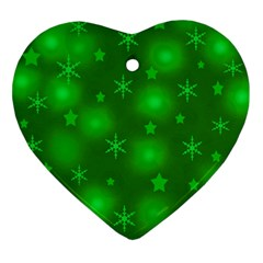 Green Xmas Design Ornament (heart)  by Valentinaart