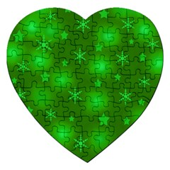 Green Xmas Design Jigsaw Puzzle (heart) by Valentinaart