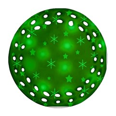 Green Xmas Design Ornament (round Filigree)  by Valentinaart
