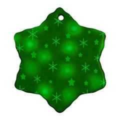 Green Xmas Design Snowflake Ornament (2 Side) by Valentinaart