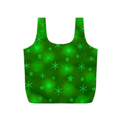 Green Xmas Design Full Print Recycle Bags (s)  by Valentinaart