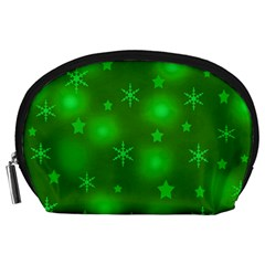 Green Xmas Design Accessory Pouches (large)  by Valentinaart