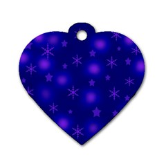 Blue Xmas Design Dog Tag Heart (two Sides) by Valentinaart