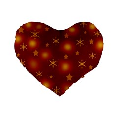Xmas Design Standard 16  Premium Flano Heart Shape Cushions by Valentinaart