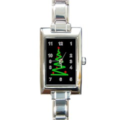 Simple Xmas Tree Rectangle Italian Charm Watch by Valentinaart
