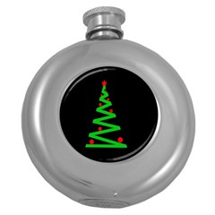 Simple Xmas Tree Round Hip Flask (5 Oz) by Valentinaart