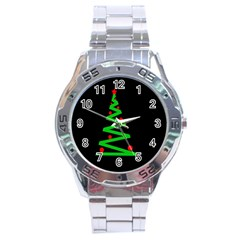Simple Xmas Tree Stainless Steel Analogue Watch by Valentinaart