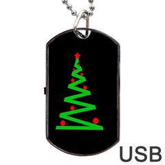Simple Xmas Tree Dog Tag Usb Flash (two Sides)  by Valentinaart