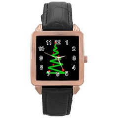 Simple Xmas Tree Rose Gold Leather Watch  by Valentinaart