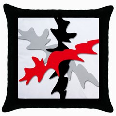 Gray, Red And Black Shape Throw Pillow Case (black) by Valentinaart