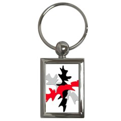 Gray, Red And Black Shape Key Chains (rectangle)  by Valentinaart