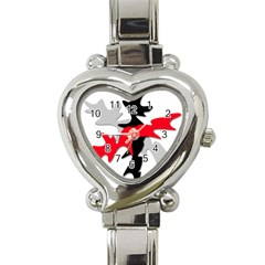Gray, Red And Black Shape Heart Italian Charm Watch by Valentinaart