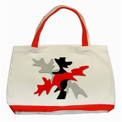 Gray, Red And Black Shape Classic Tote Bag (red) by Valentinaart