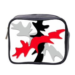 Gray, Red And Black Shape Mini Toiletries Bag 2 Side by Valentinaart