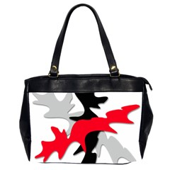 Gray, Red And Black Shape Office Handbags (2 Sides)  by Valentinaart