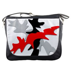 Gray, Red And Black Shape Messenger Bags by Valentinaart
