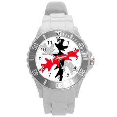 Gray, Red And Black Shape Round Plastic Sport Watch (l) by Valentinaart